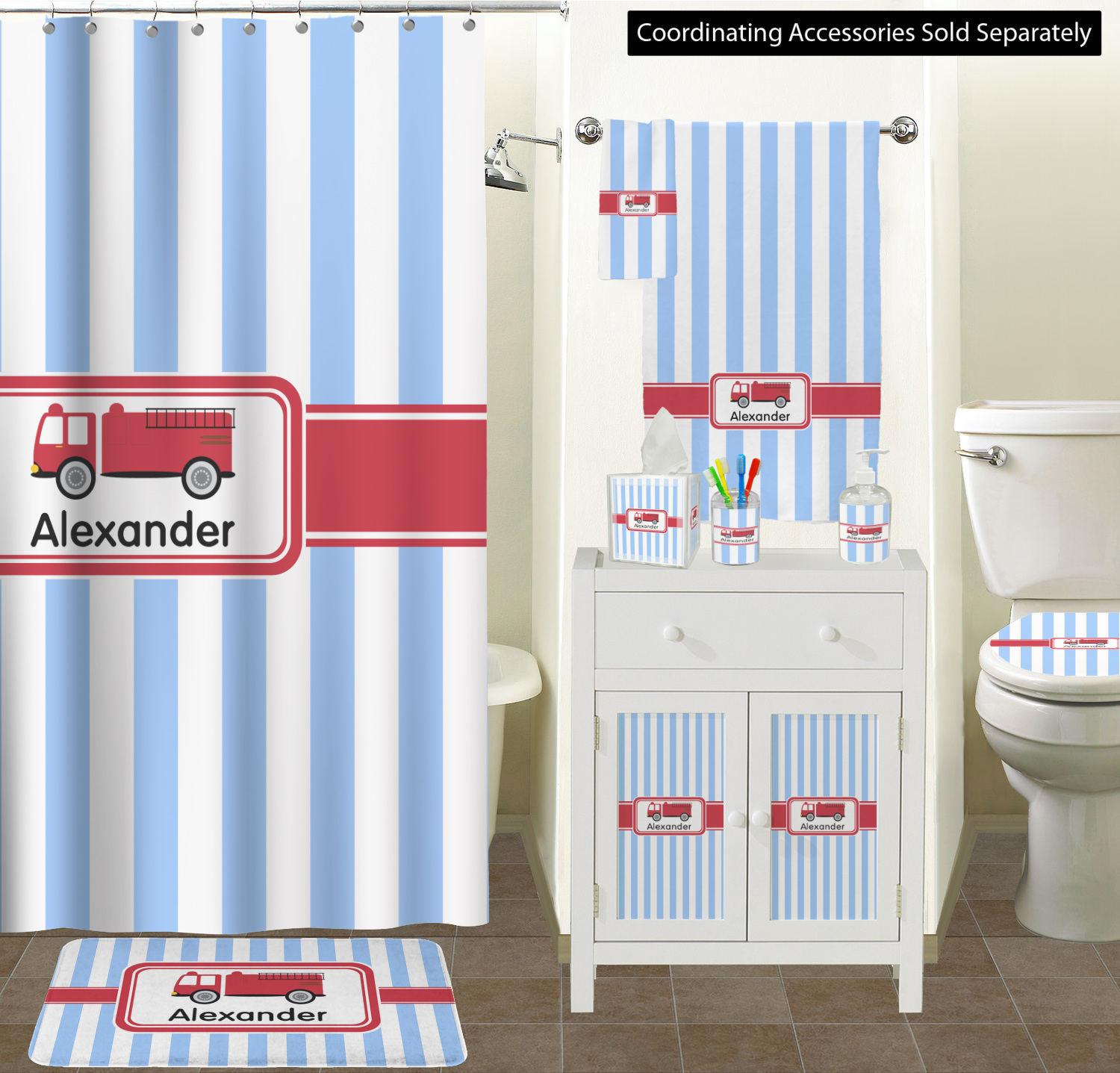 Firetruck Shower Curtain Personalized Sizes Bathroom Scene