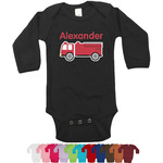 Firetruck Long Sleeves Bodysuit - 12 Colors (Personalized)