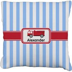 "Firetruck Faux-Linen Throw Pillow 16"" (Personalized)"