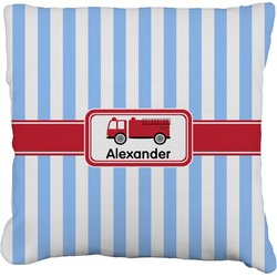 "Firetruck Faux-Linen Throw Pillow 26"" (Personalized)"
