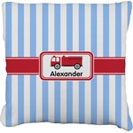 Firetruck Faux-Linen Throw Pillow (Personalized)