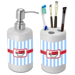 Firetruck Bathroom Accessories Set (Ceramic) (Personalized)