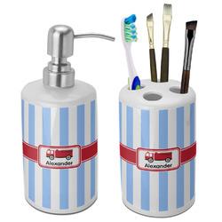 Firetruck Ceramic Bathroom Accessories Set (Personalized)