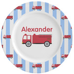Firetruck Ceramic Dinner Plates (Set of 4) (Personalized)