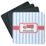 Firetruck 4 Square Coasters - Rubber Backed (Personalized)