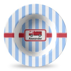 Firetruck Plastic Bowl - Microwave Safe - Composite Polymer (Personalized)