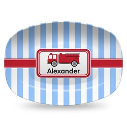 Firetruck Plastic Platter - Microwave & Oven Safe Composite Polymer (Personalized)