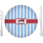 "Firetruck Glass Lunch / Dinner Plates 10"" - Single or Set (Personalized)"