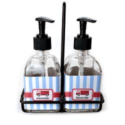 Firetruck Soap & Lotion Dispenser Set (Glass) (Personalized)