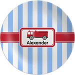 "Firetruck Melamine Plate - 8"" (Personalized)"