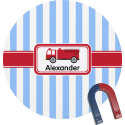 Firetruck Round Fridge Magnet (Personalized)