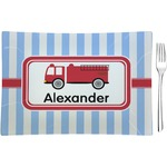 Firetruck Glass Rectangular Appetizer / Dessert Plate - Single or Set (Personalized)