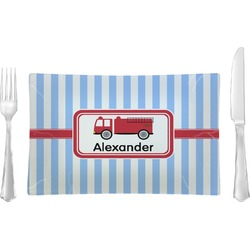 Firetruck Glass Rectangular Lunch / Dinner Plate - Single or Set (Personalized)