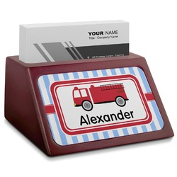 Firetruck Red Mahogany Business Card Holder (Personalized)