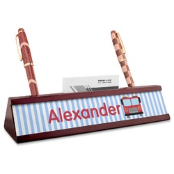 Firetruck Red Mahogany Nameplate with Business Card Holder (Personalized)