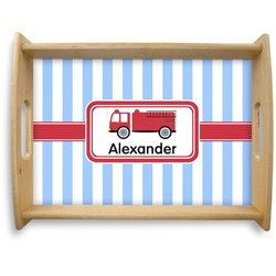 Firetruck Natural Wooden Tray - Large (Personalized)
