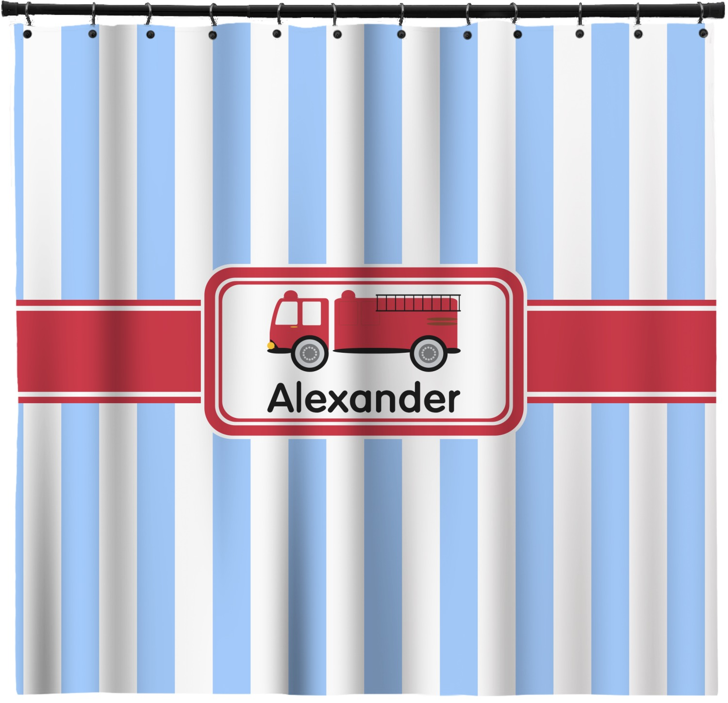 Firetruck Shower Curtain Custom Width Height Personalized Youcustomizeit