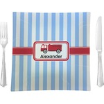 """Firetruck Glass Square Lunch / Dinner Plate 9.5"""" - Single or Set of 4 (Personalized)"""