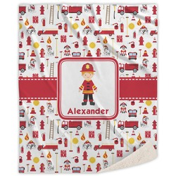 """Firefighter for Kids Sherpa Throw Blanket - 60""""x80"""" (Personalized)"""