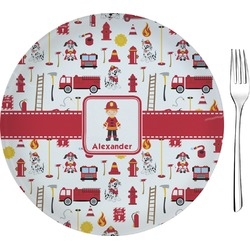 """Firefighter for Kids Glass Appetizer / Dessert Plate 8"""" (Personalized)"""