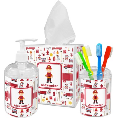 Firefighter Character Acrylic Bathroom Accessories Set w/ Name or Text