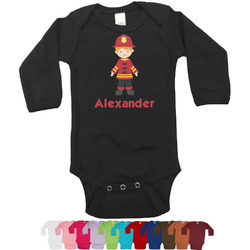 Firefighter Character Long Sleeves Bodysuit - 12 Bodysuit Colors (Personalized)