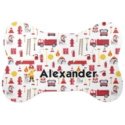 Firefighter for Kids Bone Shaped Dog Food Mat (Personalized)