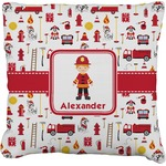 Firefighter for Kids Faux-Linen Throw Pillow (Personalized)