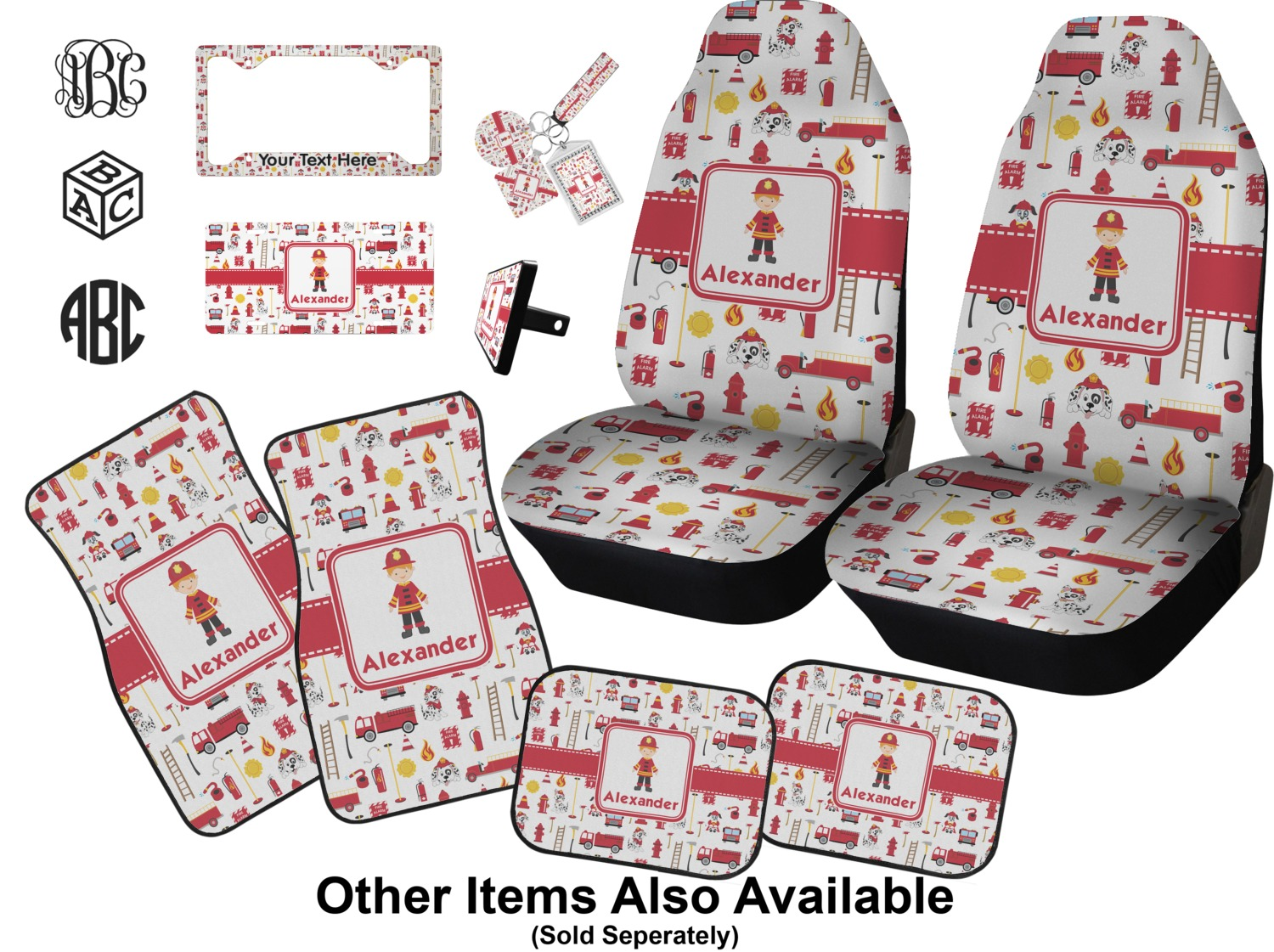 Firefighter Car Seat Covers (Set of Two) (Personalized) - YouCustomizeIt
