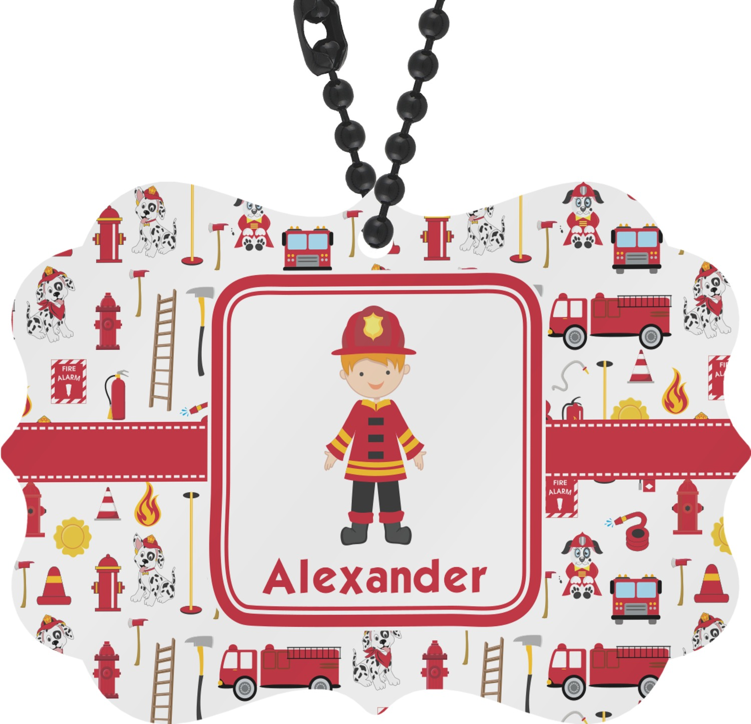 Personalized firefighter ornaments - Firefighter Rear View Mirror Charm Personalized