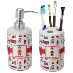 Firefighter for Kids Bathroom Accessories Set (Ceramic) (Personalized)