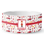 Firefighter Character Ceramic Dog Bowl (Personalized)