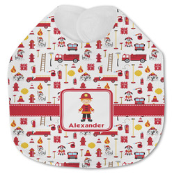 Firefighter Character Jersey Knit Baby Bib w/ Name or Text