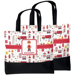 Firefighter Character Beach Tote Bag (Personalized)