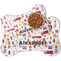 Firefighter Character Bone Shaped Dog Food Mat (Personalized)