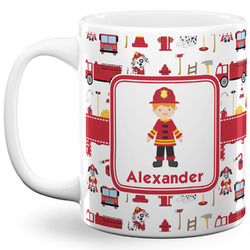 Firefighter Character 11 Oz Coffee Mug - White (Personalized)