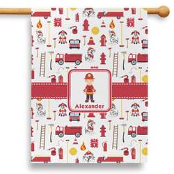 """Firefighter Character 28"""" House Flag (Personalized)"""