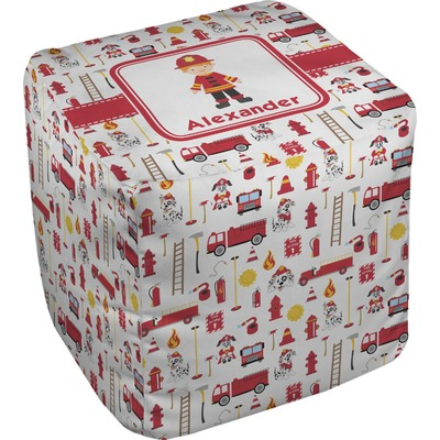 Firefighter for Kids Cube Pouf Ottoman (Personalized)