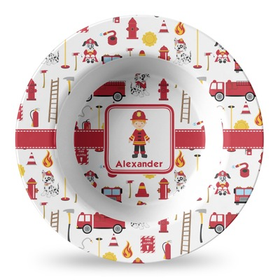 Firefighter for Kids Plastic Bowl - Microwave Safe - Composite Polymer (Personalized)
