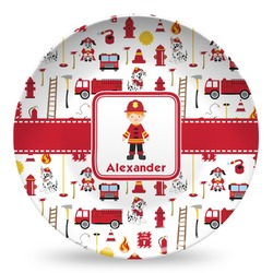 Firefighter Character Microwave Safe Plastic Plate - Composite Polymer (Personalized)