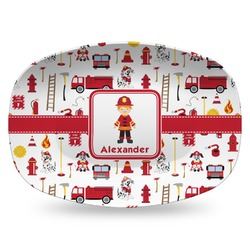 Firefighter for Kids Plastic Platter - Microwave & Oven Safe Composite Polymer (Personalized)