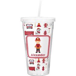 Firefighter Character Double Wall Tumbler with Straw (Personalized)