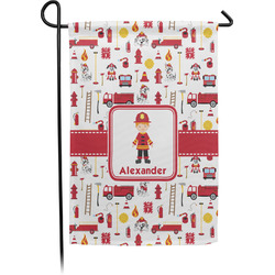 Firefighter Character Garden Flag - Single or Double Sided (Personalized)