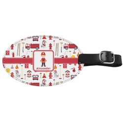 Firefighter Genuine Leather Oval Luggage Tag (Personalized)