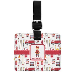 Firefighter for Kids Genuine Leather Rectangular  Luggage Tag (Personalized)