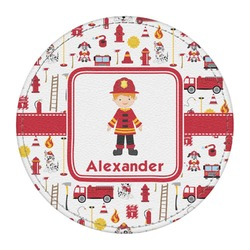 Firefighter for Kids Round Desk Weight - Genuine Leather  (Personalized)