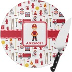 Firefighter Character Round Glass Cutting Board (Personalized)