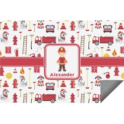 Firefighter Character Indoor / Outdoor Rug (Personalized)