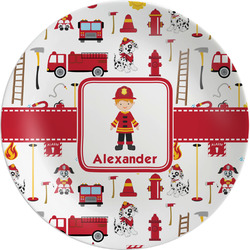"""Firefighter for Kids Melamine Plate - 8"""" (Personalized)"""