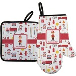 Firefighter Character Oven Mitt & Pot Holder w/ Name or Text